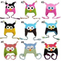 Búho de punto de los niños online-50pc Toddler Owl Ear Flap Sombrero de ganchillo Niños Hecho a mano Crochet OWL Beanie Hat Hecho a mano OWL Beanie Kids Sombrero tejido a mano