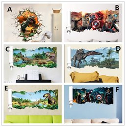 Wholesale Wall 3d Stickers Large - Cartoon Dinosaur Wall Sticker popular super hero Wall Decals for kids rooms Child Wallpaper 3D Art Decor Decals