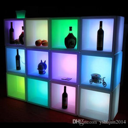 Wholesale Modern Disco - 2015 New LED illuminated display case waterproof glowing LED kitchen cabinets colorful changed Rechargeable cabinet bar kTV disco part decor