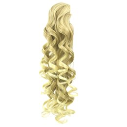 Wholesale Long Black Wavy Hair Extension - Long Wavy High Temperature Fiber Synthetic Hair Clip In Hair Extensions Pieces Pony Tail Blonde Black Claw Ponytail
