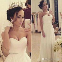 Wholesale Sweetheart Neckline Draped Chiffon Dress - 2017 Simple A-line Chiffon Wedding Dresses with Sweetheart Neckline Floor Length Bridal Gowns Vestido De Novia