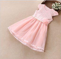 Wholesale Girls Pure Cotton Flowered Dresses - Big Girls Embroidery Dresses Pure Color Lace Gauze Princess Tutu Dress 2018 Summer Children's Flower Dresses Kids Clothing Girl Clothes L538
