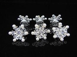 Wholesale Twist Pins Crystal Wholesale - Fashion Jewelry 100 Pcs Snowflake Pearl Crystal Bridal Wedding Prom Hair Pins Hair Accessory Crystal Twists Spins Hair Pins