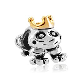 Wholesale Pandora Frog Bead - Personalized jewelry cute frog with golden crown animal European bead metal charm ladies bracelet with big hole Pandora Chamilia Compatible