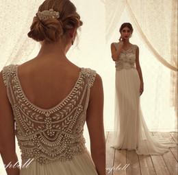 Wholesale Cheap Anna Campbell Dresses - Cheap Anna Campbell Empire Beach Wedding Dresses Beaded pearls Plus Size Bridal Wedding Gowns 2016 Free Shipping Arabic vestidos De Novia