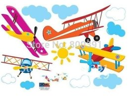 Wholesale Windows Clings - Free shipping33x60cm TC962 Propeller Airplane Wall Sticker Carsair Mural Art Window Cling Kid Room Paper Daycare Decor,3PCS