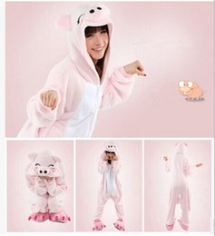 Wholesale Hot Pink Anime Costumes - Hot Sale Unisex Onesie Hoodie Long Sleeve Cosplay Pajamas reet Pink Pig Costume Adult romper pajamas costume onesie