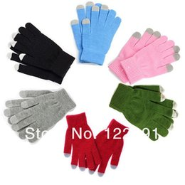 Wholesale Glove Plastic Bags - Wholesale-HOT Sale! Touch Gloves With Plastic Bags Screen Touch Magic Gloves ipad Tablet Pure Winter warm Unisex 5pir lot Free shipping