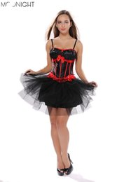 Wholesale Waist Training Corsets String - w1022 Bra sexy Corset top, waist training corsets and bustiers Red and Black Three Bows and Lace Corset with G-string Cheaper price