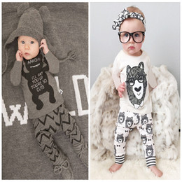 Wholesale Child Pyjamas - 2 Design Baby Pajamas 2015 new children Autumn winter Cotton little monster cartoon Pyjamas long Sleeve + Pants 2 Piece Sets 4sets lot C001
