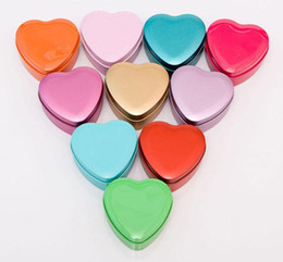 Wholesale Candy Shaped Favor Box Diy - 30Pcs Lot Heart Tin Box Size 7*4CM Multi DIY Candy Boxes Favor Holders Gift Box 2016 Spring Style