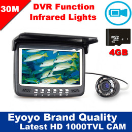"""Wholesale Underwater Fish Cameras - Free Shipping!30M 4.3"""" Underwater 1000TVL Ice Fishing Camera Fish Finder VIdeo Recording DVR 8 infrared LED Sunvisor+4G TF Card"""