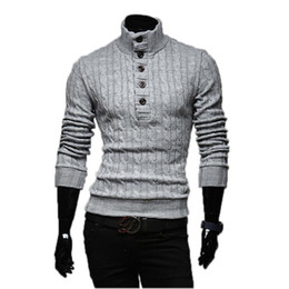 Wholesale flat knit collar - Wholesale- Mens Sweaters 2017 New Men Fashion Winter Coat Long-Sleeved Sweater Male Jacket Casual Sweater High Collar Men Sweater Size XXL