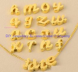 silberne buchstaben für armbänder Rabatt 260pcs NEUES A ~ Z 10 * 8m Lochgröße 1.5mm hängende Buchstaben Legierungs-Vergoldung Charmearmband Halskette DIY Buchstaben silberne / goldene kleine Anhänger
