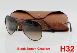 Wholesale Light Brown Frame Glasses - 1pcs Excellent Quality Man Woman Gradient Metal Sunglasses Eyewear Designer Sun Glasses Black Light Brown 58mm Glass Lenses With Package