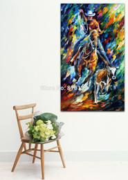 Wholesale Horse Art Oil Paintings - Palette Knife Oil Painting Man Rider Horse Cow Picture Printed on Canvas for Home Living Hotel Office Wall Art Decor