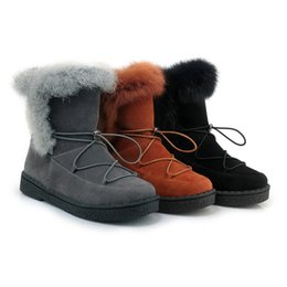 Wholesale muscle rabbit - Big size 33-45 fashion rabbit fur winter boots round toe lace up shoes woman keep warm snow boots comfortable soft shoes