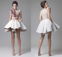 Wholesale Sexy Mini Ruffles Dresses - 2017 Krikor Jabotian Lace Prom Dresses O Neck Cap Sleeves Ruched Flowers White Short Mini Evening Party Dresses With Pockets