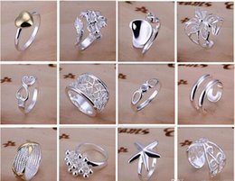 Canada Nouveau Arrive 925 bijoux en argent 50pcs lot Charme Femmes filles bagues Finge Multi Styles Bagues Mix taille mélange ordre Vente chaude 1761 Offre