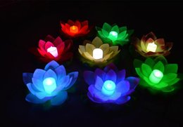 Wholesale Led Floating Lanterns - 50pcs New Arrive LED Lotus Lamp in Colorful Changed Floating Water Pool Wishing Light Lamps Lanterns for Party Decoration