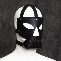 Wholesale Sex Mask Gag Ball - Slave Mouth Muzzle Bondage Restraint Face Hood Mask Sex Product for Adult Sex Games