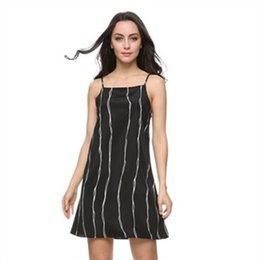 Wholesale Cozy Summer Dress - Women striped Dresses sexy blackvintage sleeveless chiffon mini causal vestido de festa Europen loose cozy dress