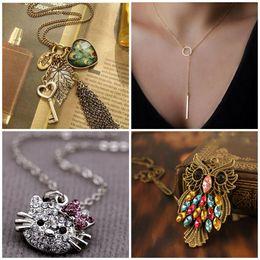 Wholesale Tassel Peacock Necklace - Factory Wholesale Fashion Heart Leaf Leaves Vintage Long Sweater Chain Key Peacock Pendant Tassel Necklace