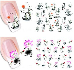 Wholesale Sticker 3d Nail China - 10 Sheets Orient China Style Geisha Girl Flower Nail Art 3D Water Transfer Nail Art Sticker Decal Manicure Wraps DIY Nail Tools