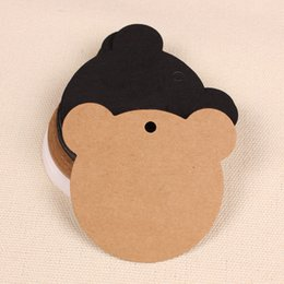 Wholesale Bear Christmas Cards - 350gsm cardboard latest new arrival free shipping blank bear shape kraft hangtag for gift package