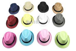 Wholesale Crown Derby - Fashion Men Women Casual Fedora Hat Pinched Crown Beach Sun Cap Panama Hat Unisex Top Quality straw hats 0350