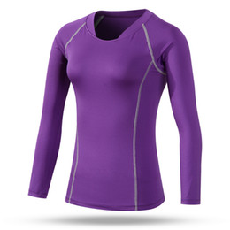 Wholesale Woman Cycling Jersey Blue - Wholesale-Women sports compression long sleeve t shirt women's fitness running cycling gym jersey clothes quick dy thermal base layer
