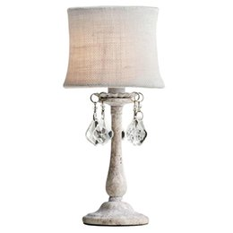 Wholesale Art Glass Table Lamps - retro rustic wrought iron desk Lamp for art salon study room Led table lighting with Linen lamp shade Princess bedroom vintage standing lamp