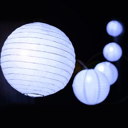 Wholesale Solar Lantern Fairy Lights - Wholesale- 30LED Lantern Ball Solar Power Fairy String Lights Lamp Waterproof 4 Colors
