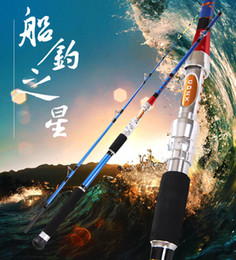 Wholesale Boat Jigging Fishing Rod - Carbon Fishing Boat Rod Spigot Blue Jig Rod Fish Jigging Rods Hard Fishing Tackle Material Equipment 2 sections 1.8m New FREE SHIPPING