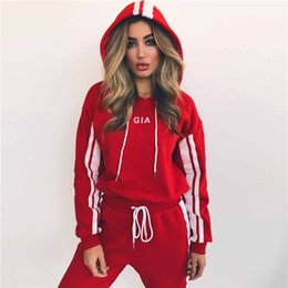 Wholesale Rhinestone Football Beads - 2018 New Hoodies Women's Fashion Tracksuits Sweatshirts Set Casual cotton pullover Sportswear outdoor short strap hooded sweater sports suit