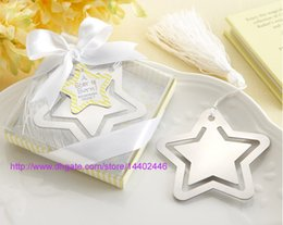 Wholesale Bomboniere Baby Shower - 100PCS Home Party Favor GIft Box Hollowed Star Bookmark With White Tassel For Baby Shower Christening Wedding Favors Bomboniere