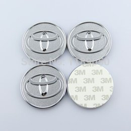 Wholesale Toyota Camry Emblems - New 4 Pcs set T Toyota Emblems CAMRY 6CM 60mm Wheel Center Cap Sticker ABS Chromed High Quality Free Shipping