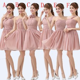 Wholesale dresses f - Chiffon Short Bridesmaid Dress 2018 Fashionable Ball Gown Sweetheart Ruched Women Dress To Party 6 style A-F