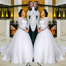 Wholesale three quarter wedding dresses - 2017 Wedding Dresses Jewel Neck Illusion Lace Applique Pearls Sashes Beads Three Quarter Sleeves Sweep Train Plus Size Formal Bridal Gowns