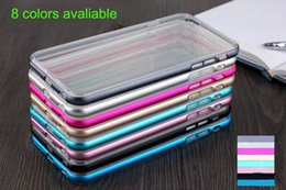 Wholesale Iphone Aluminium Metal Bumper - Hybrid Metal CASE Aluminium Frame Bumper Bumpers Soft Clear Transparent Crystal TPU Cover Cases For Iphone 6 6Plus DHL SCA055