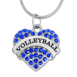 Wholesale Elegant Jewelry For Men - Sports Words VOLLEYBALL Heart Elegant Mixcolor Pendants Rhodium Plated For Men&Women's Gift Statement Necklaces DIY Jewelry