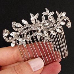 Wholesale Hair Austrian Crystal - New Fashion Charm Austrian Crystal Leaf Hair Combs for Bridal Hairpin Wedding Flower Hair Accessories Hair Jewelry for Women X19