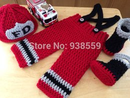 Wholesale Crochet Hat Boots - Wholesale-Free shipping Baby red firefighters hat,boots with matching Pants baby sets.newborn crochet Photography Props 100% cotton