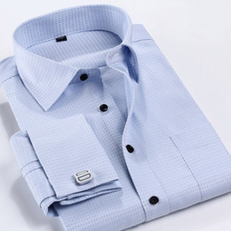 Wholesale 4xl Button Shirt - Wholesale-2016 Men Dress Shirts French Cuff Button Mens Shirt Long Sleeved Formal Business Casual Male Shirts camisa masculina