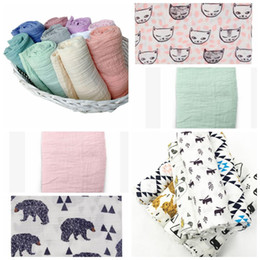 Wholesale Red Nursery - Kids Swaddles Muslin Baby Blankets Ins Bath Towels Wraps Nursery Bedding Newborn Cotton Swadding Robes Quilt 120*120cm KKA3356