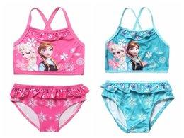 Wholesale Toddler Swimming Costume Girls - Elsa Anna Baby Girls Bathing Suits Childrens Swimwear Kids Two Pieces Bikini Swimsuit Toddler Swimming Costume free shipping in stock