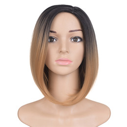 Wholesale Short Dark Green Wig - Mtmei hair Ombre Black Brown Synthetic Wig For Women Short Bob Wig Haircut Straight False Hair Cheap Natural Cosplay Wigs