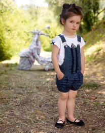 Wholesale Child Overalls - 2015 Summer girls casual clothing set Girl European and American denim overall + short sleeve T-shirt children two-piece sets high quality