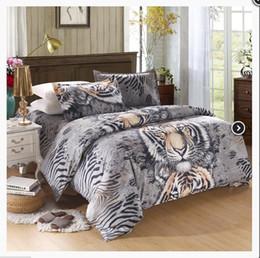 Wholesale Mens Bedding - 3D Animal Tiger Pattern Mens Bedding Set Queen Size Quality Cotton Fabric 4pcs Bedclothes Duvet Cover Bed Sheets Pillowcase