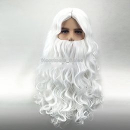 Wholesale Wizard Deluxe - High quality Deluxe White Santa Fancy Dress Costume Wizard Wig and Beard Set Christmas Halloween New Year